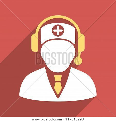 Medical Operator Flat Square Icon with Long Shadow