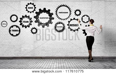 Woman presenting teamwork concept