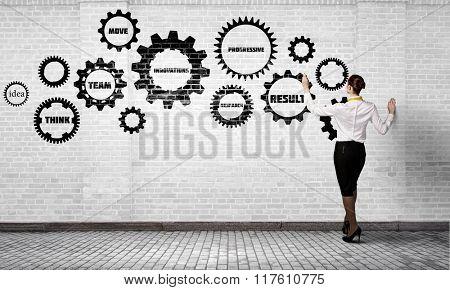 Woman presenting teamwork concept