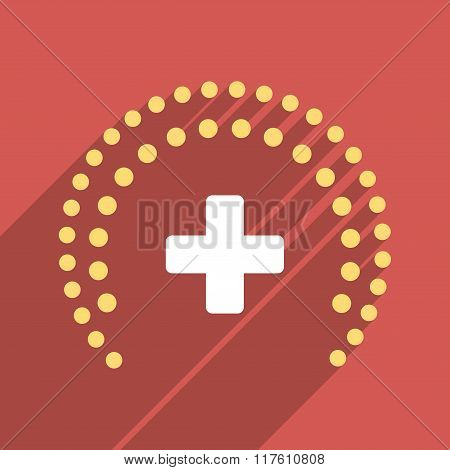 Dotted Health Care Protection Flat Square Icon with Long Shadow