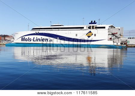 Mols linien ferry at Aarhus harbor in Denmark