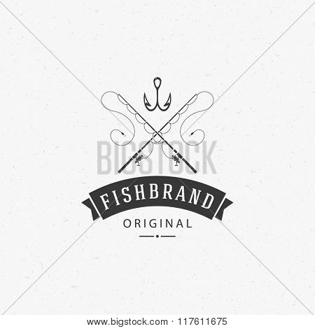 Fishing Club Logo Template. Two Fish and Hook Silhouette Isolated On White Background. Vector object for Labels, Badges, Logos. Fishing Rod Logo, Hook Logo, Hook Silhouette.
