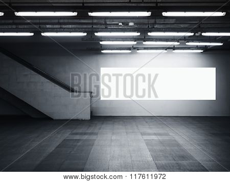 Mock Up Blank Banner Media Light Box Interior Modern Architecture With Staircase