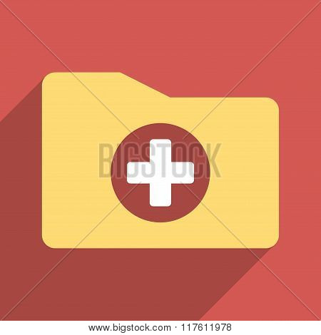 Medical Folder Flat Square Icon with Long Shadow