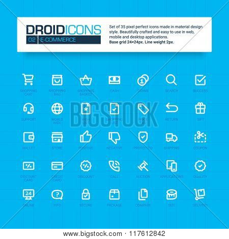 DROID ICONS. Set of 35 flat line art vector icons made in material design style. Easy to use in web, mobile and desktop applications. Basic theme.