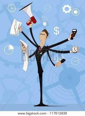 Concept Of Multitasking Businessman