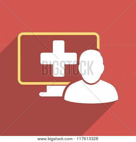 Online Medicine Flat Square Icon with Long Shadow