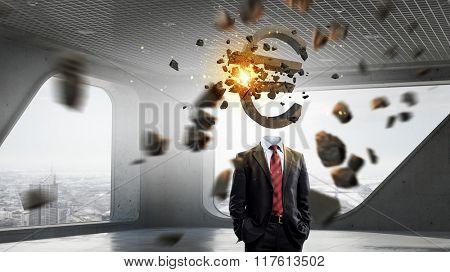 Businessman financier in office