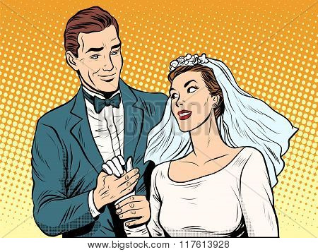 Wedding betrothal engagement groom bride love