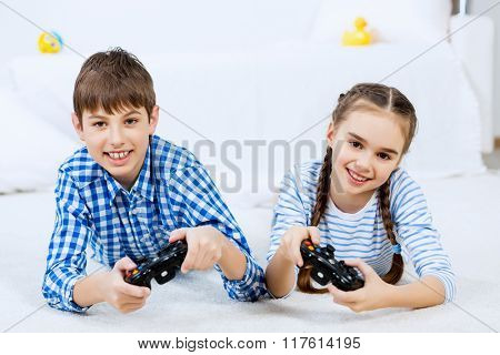 Kids playing game console