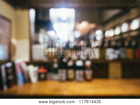 Blurred Restaurant Table Counter Bar Shop Background
