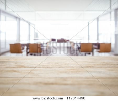 Table Top With Blurred Office Space Meeting Seminar Room And Seats Interior Background