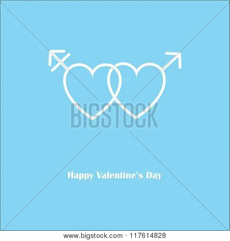 Happy Valentine's Love Transgender Blue Card