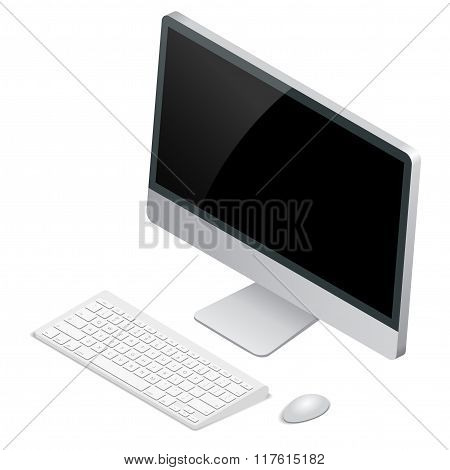 Desktop computer with wireless keyboard and mouse. Flat 3d Vector isometric illustration.