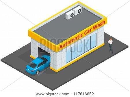 Car wash full automatic 24h service facilities with touchless equipment. Automatic Car Wash. Flat 3d
