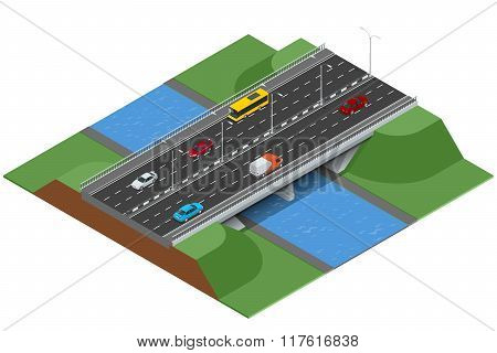 Isometric bridge over the river. Commercial transport. Various types of load and cargo. Logistics. F