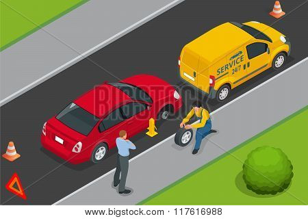 Roadside assistance car. Man changing wheel on a roadside. Auto service. Protection of car. Insuranc