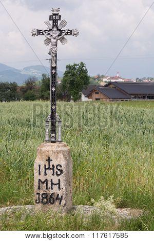 Wayside Cross Metal - Background Rural Community
