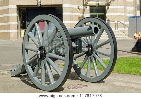 A Turkish gun captured by British Forces during the First World War now preserved at Finsbury Barracks in Islington home to the Honourable Artillery Company.