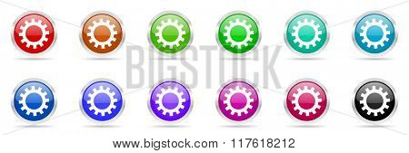 cogwheel colorful web icons set