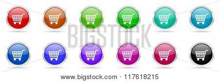 shopping cart colorful web icons set