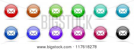 email colorful web icons set