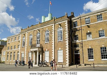 LONDON UK - SEPTEMBER 19 2015: Visitors outside the historic Armoury House on an open day at Finsbury Barracks in Islington Central London.