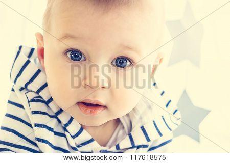 Baby Boy With Big Blue Eyes