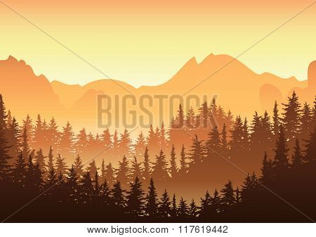 Vector Illustration Of Sunrise In The Mountain. Nature Horizontal Seamless Background, Fir Or Pine F