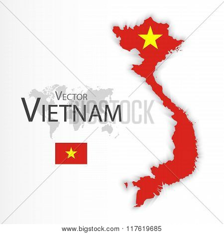 Vietnam ( Socialist Republic Of Vietnam )( Flag And Map )