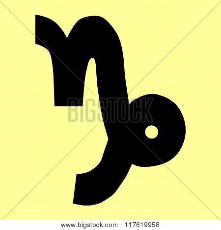 Capricorn sign. Flat style icon