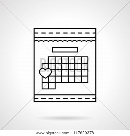 Calendar with heart sign flat line vector icon