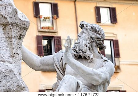 Rome Piazza Nnavona Fountain From Bernini In Italy