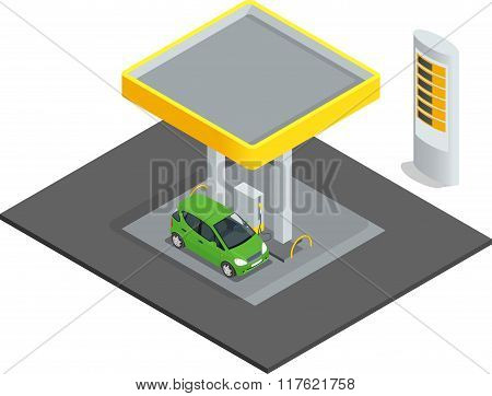 Small gas station. Gas petroleum petrol refill station cars. Flat 3d web isometric infographic conce