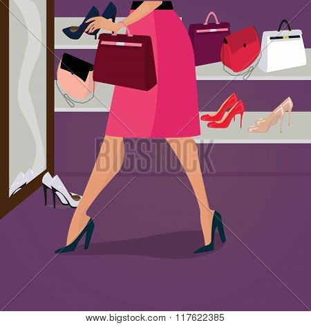 shoes and bags for women in shop