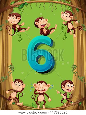 Number six with 6 monkeys on the tree illustration