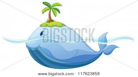 Dolphine and island in the sea illustration