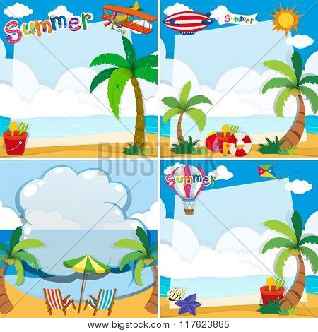 Border design with summer theme illustration