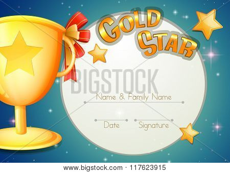 Certificate template with trophy and stars illustration