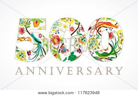 500 anniversary vintage colorful ethnic numbers.