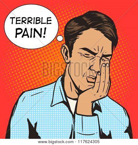 Man suffering toothache pop art retro vector