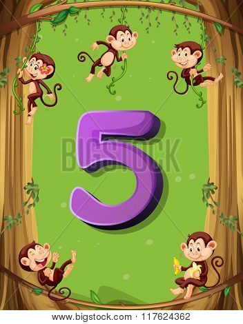 Number five with 5 monkeys on the tree illustration