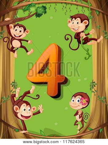 Number four with 4 monkeys on the tree illustration