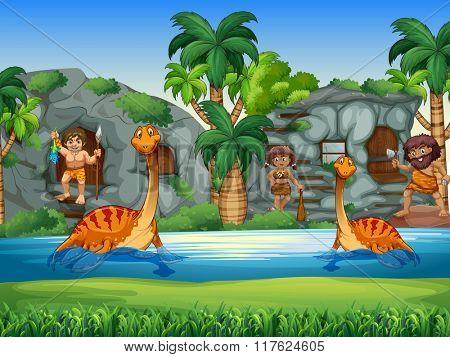 Cavemen and dinosaurs living together illustration
