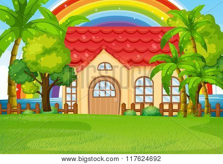 Single house with green lawn illustration