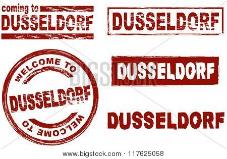 Set of stylized ink stamps showing the city of Dusseldorf