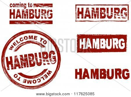 Set of stylized ink stamps showing the city of Hamburg