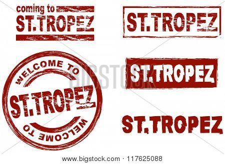 Set of stylized ink stamps showing the city of St. Tropez