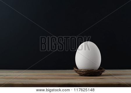 Upright Egg In Nest On Wood Plank Table Against Black Background
