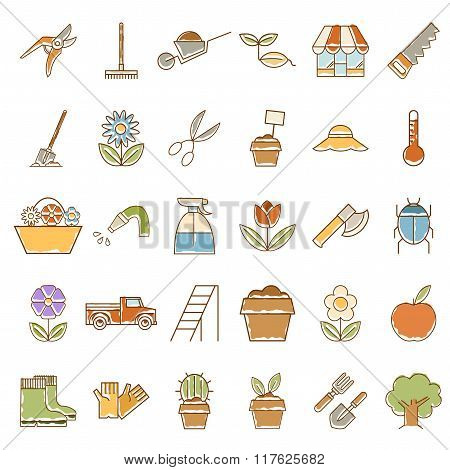 Set of garden plant icons with colours
